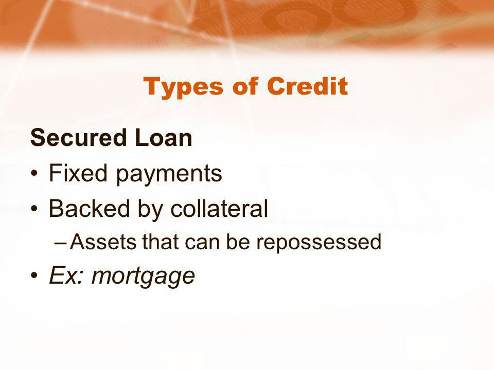 Types of Credit Secured Loan Fixed payments Backed by collateral –Assets that can be repossessed Ex: mortgage