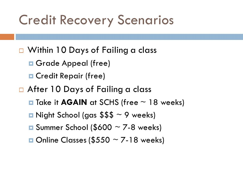 Credit Recovery Scenarios Within 10 Days of Failing a class Grade Appeal (free) Credit Repair (free) After 10 Days of Failing a class Take it AGAIN at SCHS (free ~ 18 weeks) Night School (gas $$$ ~ 9 weeks) Summer School ($600 ~ 7-8 weeks) Online Classes ($550 ~ 7-18 weeks)