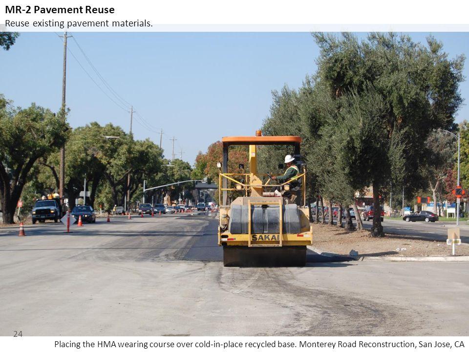 MR-2 Pavement Reuse Reuse existing pavement materials.