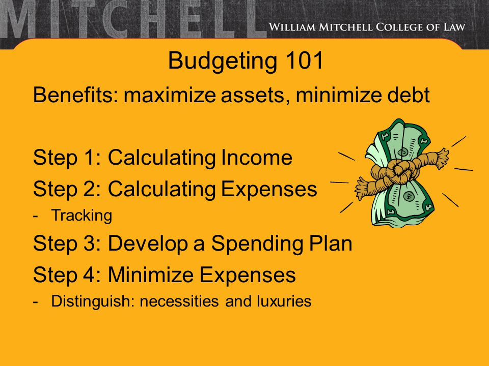 Budgeting 101 Benefits: maximize assets, minimize debt Step 1: Calculating Income Step 2: Calculating Expenses -Tracking Step 3: Develop a Spending Plan Step 4: Minimize Expenses -Distinguish: necessities and luxuries