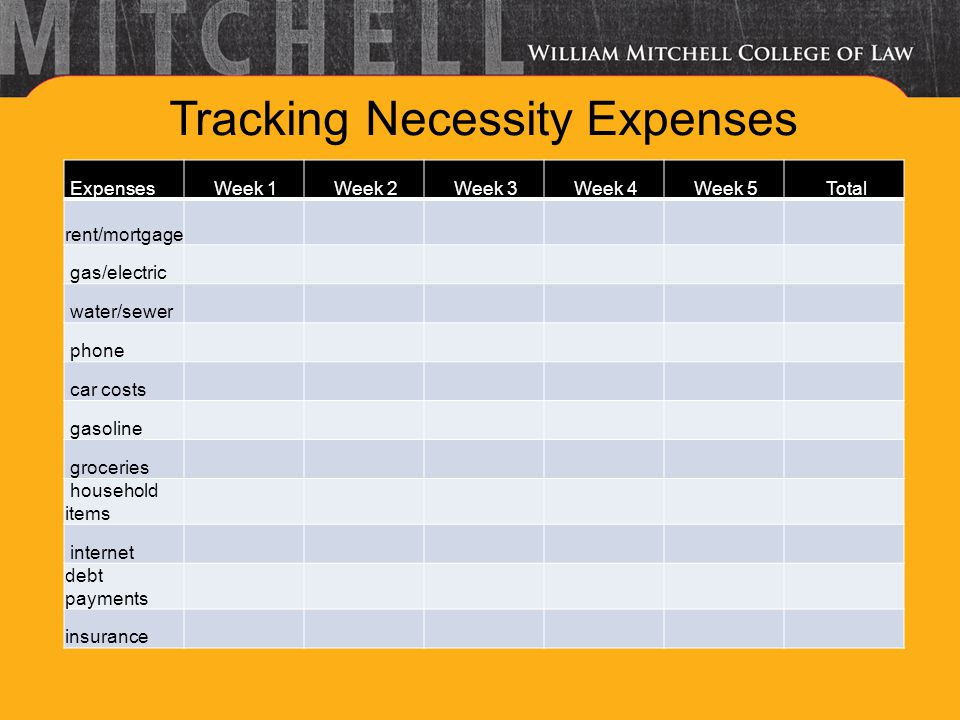 Tracking Luxury Expenses Expenses Week 1 Week 2 Week 3 Week 4 Week 5 Total cable TV meals out clothing cigarettes entertainment vacation hobbies pets