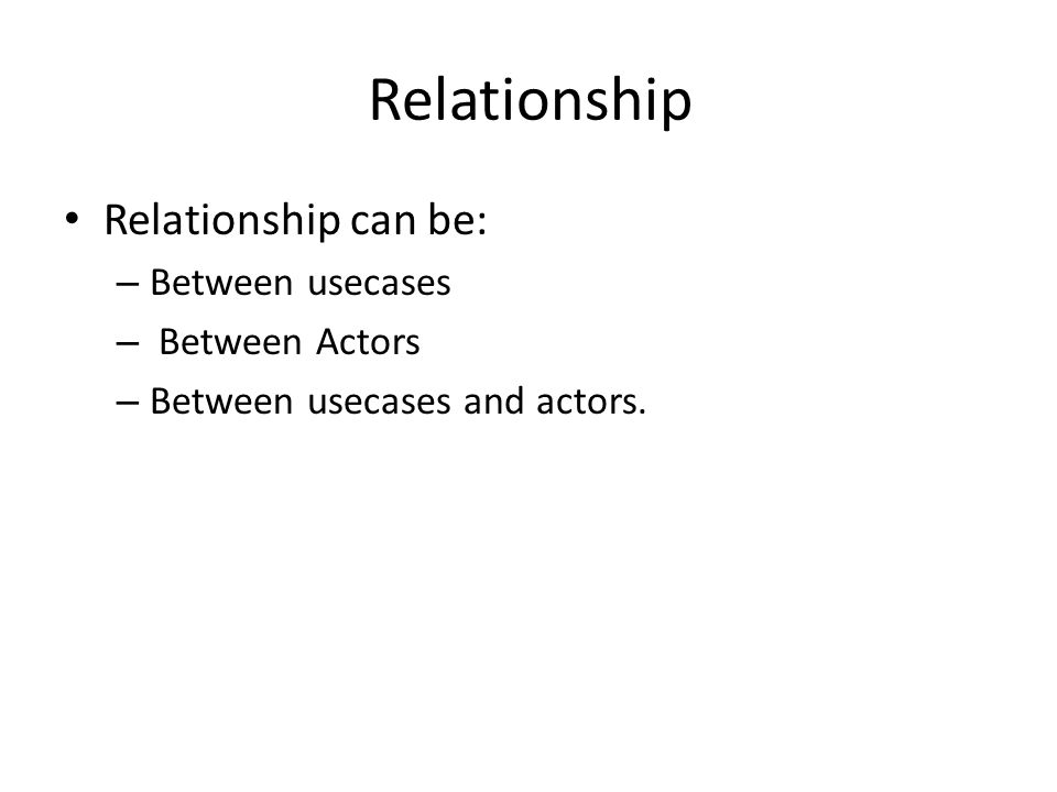 Relationship Relationship can be: – Between usecases – Between Actors – Between usecases and actors.
