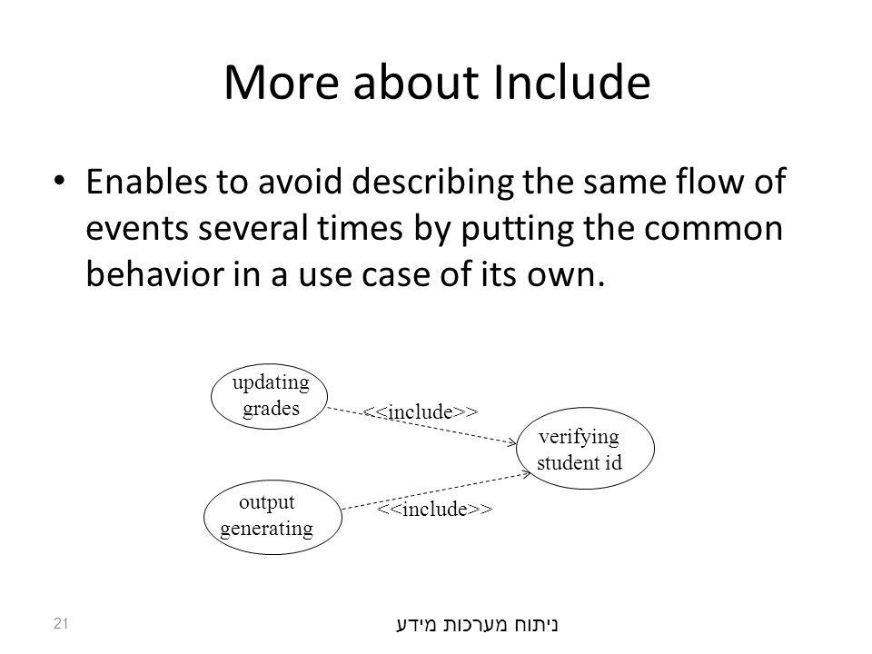 ניתוח מערכות מידע 21 More about Include Enables to avoid describing the same flow of events several times by putting the common behavior in a use case