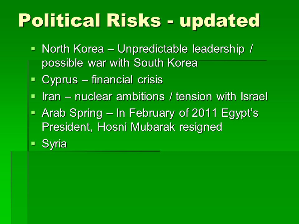 Political Risks - updated North Korea – Unpredictable leadership / possible war with South Korea North Korea – Unpredictable leadership / possible war with South Korea Cyprus – financial crisis Cyprus – financial crisis Iran – nuclear ambitions / tension with Israel Iran – nuclear ambitions / tension with Israel Arab Spring – In February of 2011 Egypts President, Hosni Mubarak resigned Arab Spring – In February of 2011 Egypts President, Hosni Mubarak resigned Syria Syria