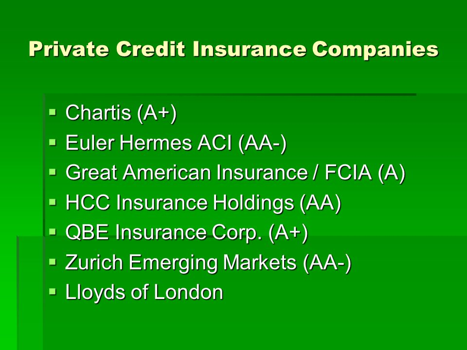 Private Credit Insurance Companies Chartis (A+) Chartis (A+) Euler Hermes ACI (AA-) Euler Hermes ACI (AA-) Great American Insurance / FCIA (A) Great A