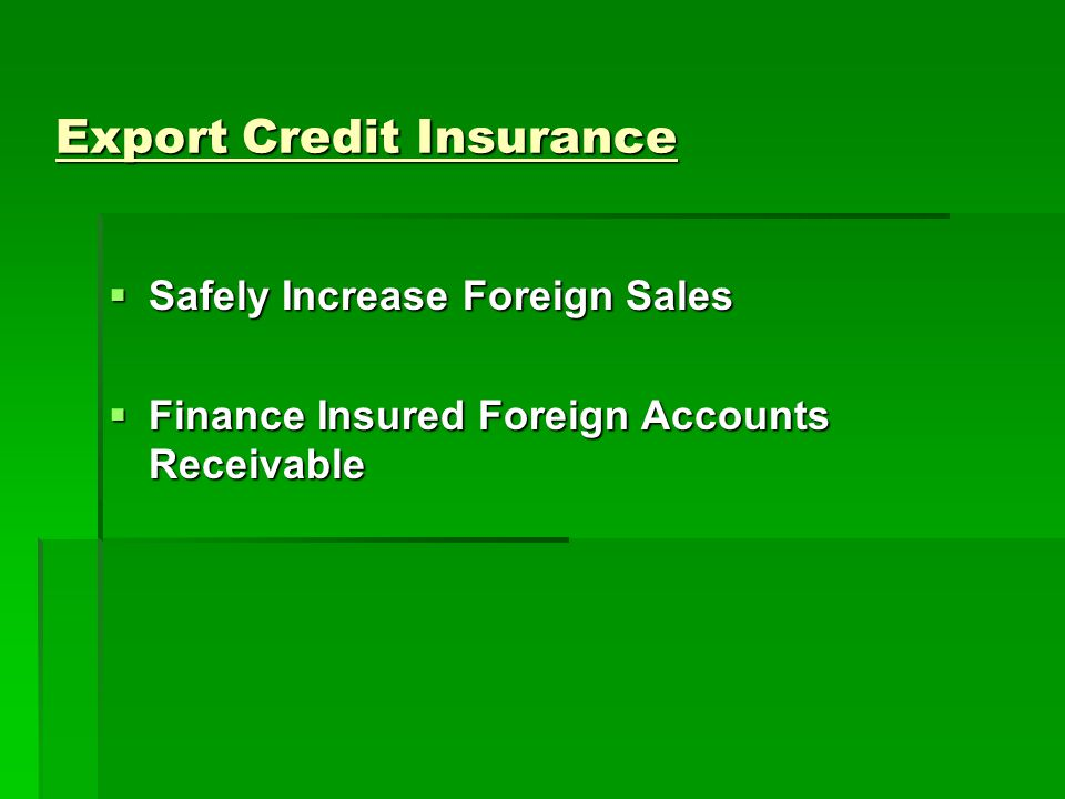 Export Credit Insurance Safely Increase Foreign Sales Safely Increase Foreign Sales Finance Insured Foreign Accounts Receivable Finance Insured Foreign Accounts Receivable
