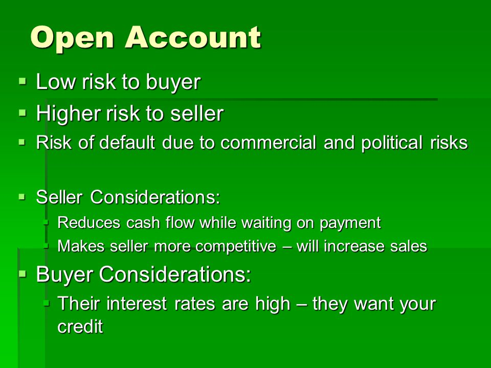 How can the seller offer credit terms without taking on the risk.
