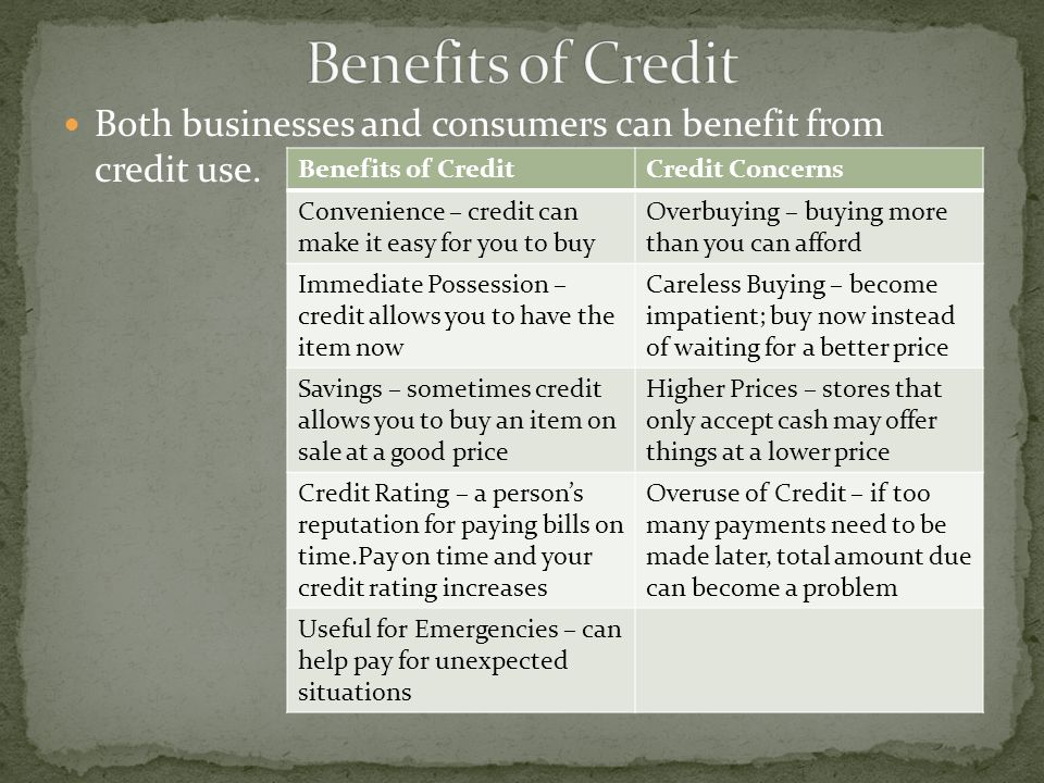 Both businesses and consumers can benefit from credit use.