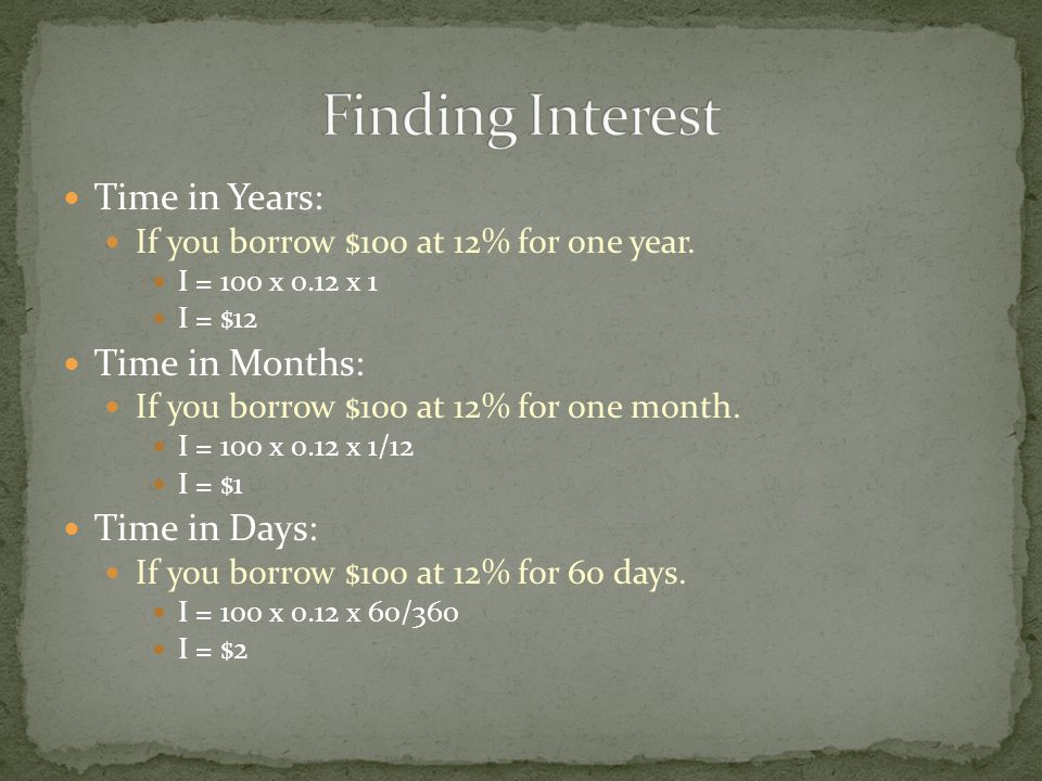 Time in Years: If you borrow $100 at 12% for one year.