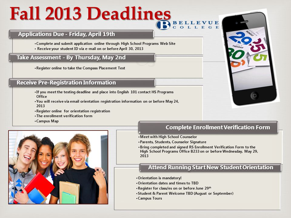 Fall 2013 Deadlines Complete and submit application online through High School Programs Web Site Receive your student ID via e-mail on or before April
