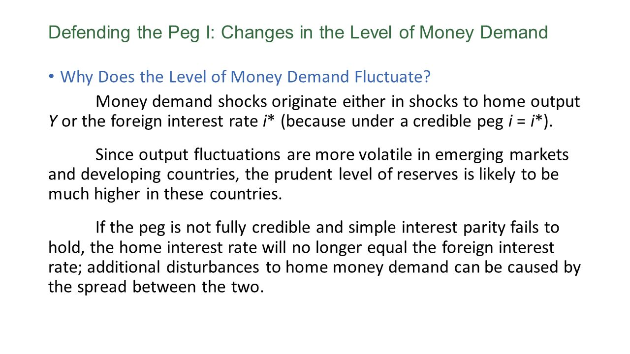 Why Does the Level of Money Demand Fluctuate? Money demand shocks originate either in shocks to home output Y or the foreign interest rate i* (because