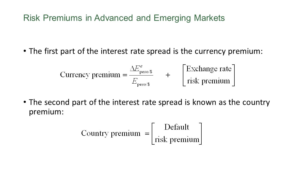 The first part of the interest rate spread is the currency premium: The second part of the interest rate spread is known as the country premium: Risk