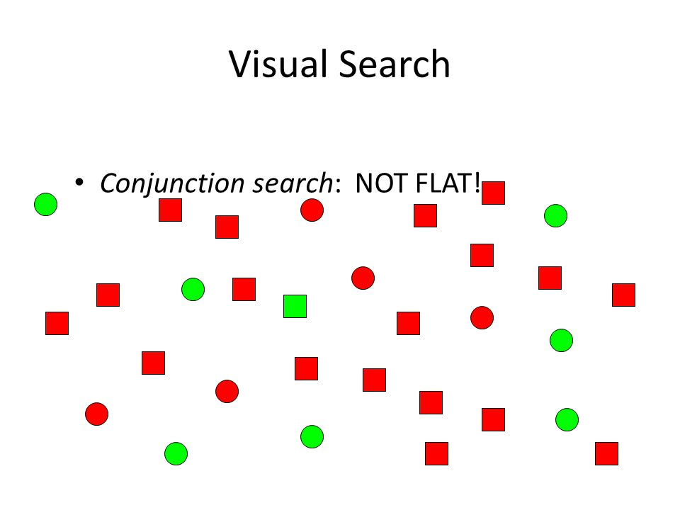 Visual Search Conjunction search: NOT FLAT!