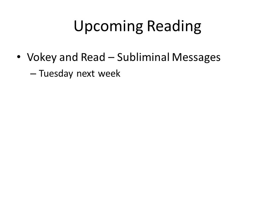 Upcoming Reading Vokey and Read – Subliminal Messages – Tuesday next week