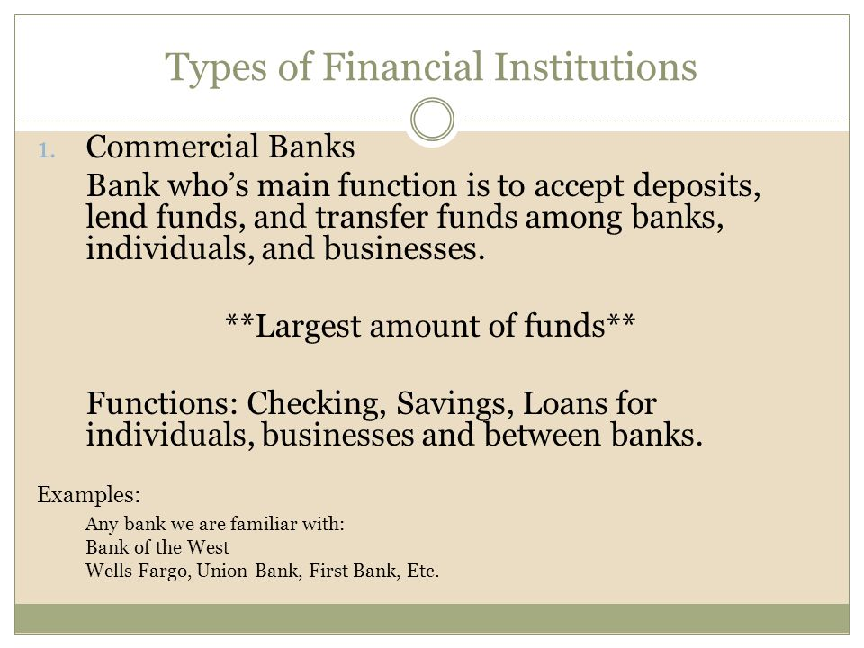 Types of Financial Institutions 1.