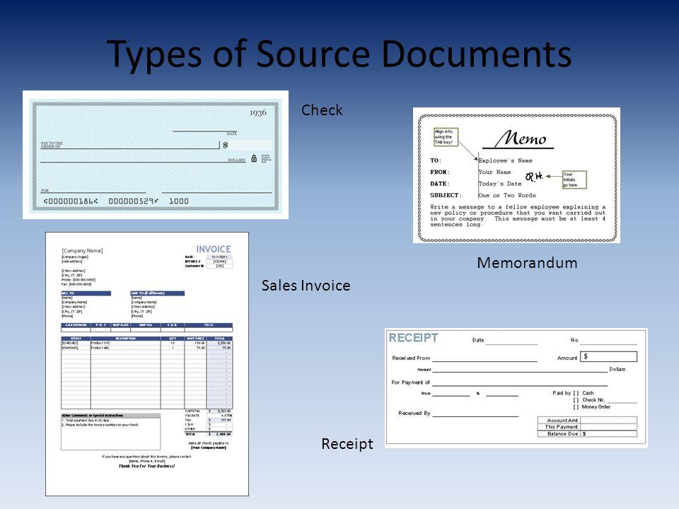 Types of Source Documents Check Memorandum Sales Invoice Receipt