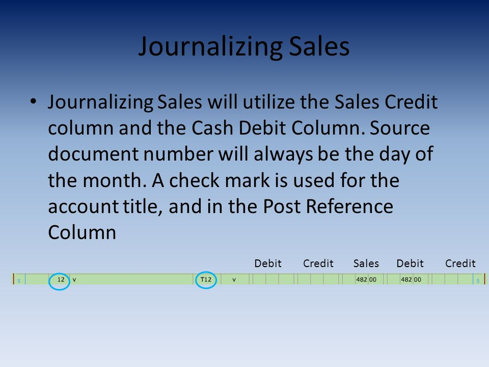 Journalizing Sales Journalizing Sales will utilize the Sales Credit column and the Cash Debit Column.