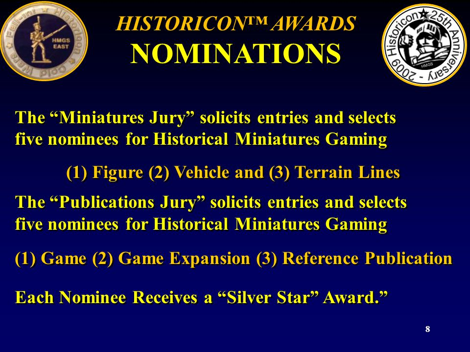 8 The Miniatures Jury solicits entries and selects five nominees for Historical Miniatures Gaming (1) Figure (2) Vehicle and (3) Terrain Lines The Pub