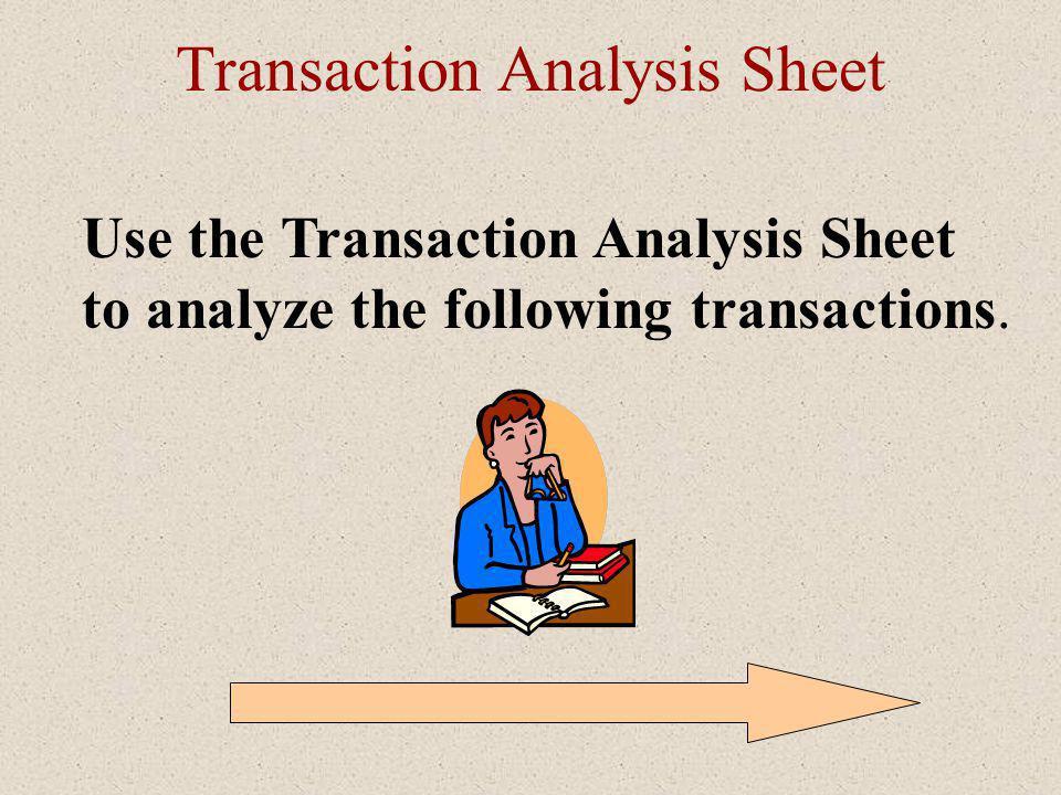 Transaction Analysis Sheet Use the Transaction Analysis Sheet to analyze the following transactions.