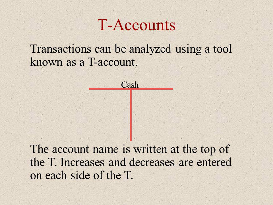 T-Accounts Transactions can be analyzed using a tool known as a T-account. Cash The account name is written at the top of the T. Increases and decreas