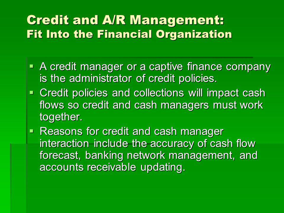 Cost Associated With a Credit Policy Credit Department Costs Credit Department Costs Credit Evaluation Costs Credit Evaluation Costs A/R Carrying Cost A/R Carrying Cost Discounted Payments Discounted Payments Selling and Production Cost Selling and Production Cost Collection Expenses Collection Expenses Bad Debts Bad Debts