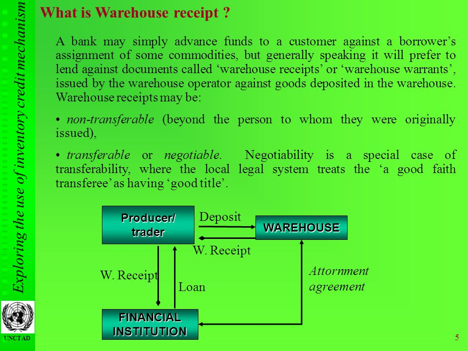 Exploring the use of inventory credit mechanism UNCTAD 5 What is Warehouse receipt ? A bank may simply advance funds to a customer against a borrowers