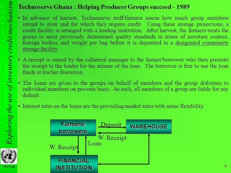 Exploring the use of inventory credit mechanism UNCTAD 9 Technoserve Ghana : Helping Producer Groups succeed - 1989 In advance of harvest, Technoserve