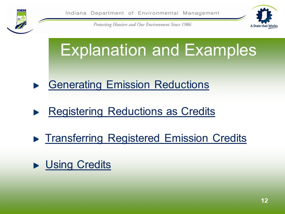 12 Explanation and Examples Generating Emission Reductions Registering Reductions as Credits Transferring Registered Emission Credits Using Credits