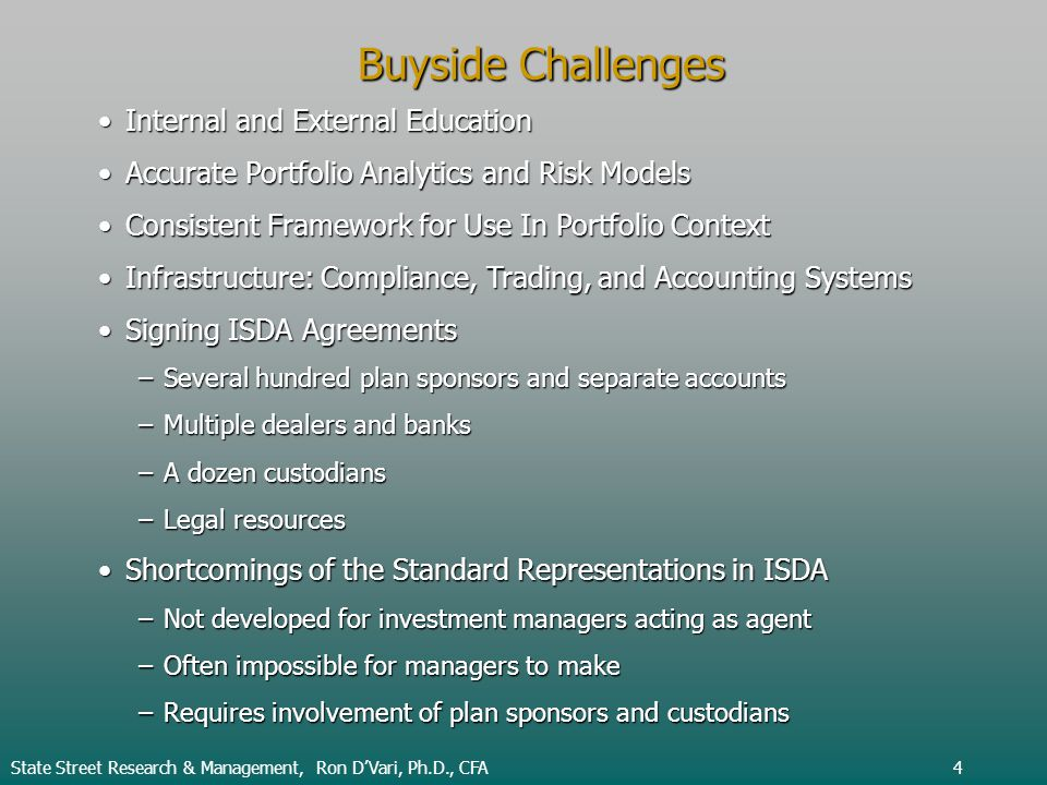 Buyside Challenges Internal and External EducationInternal and External Education Accurate Portfolio Analytics and Risk ModelsAccurate Portfolio Analy