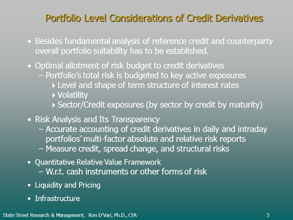 Portfolio Level Considerations of Credit Derivatives Besides fundamental analysis of reference credit and counterparty overall portfolio suitability has to be established.