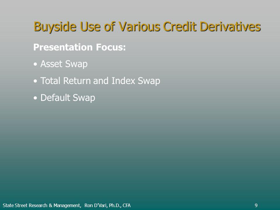 Buyside Use of Various Credit Derivatives Presentation Focus: Asset Swap Total Return and Index Swap Default Swap State Street Research & Management, Ron DVari, Ph.D., CFA9