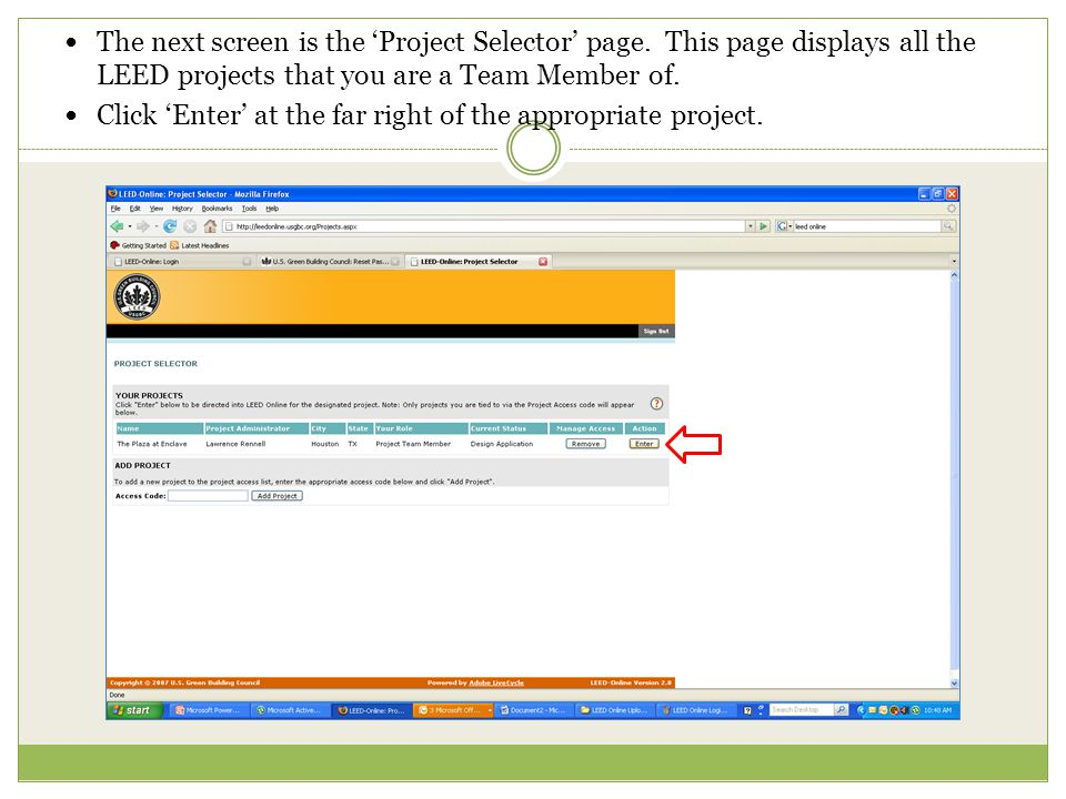 The next screen is the Project Selector page.