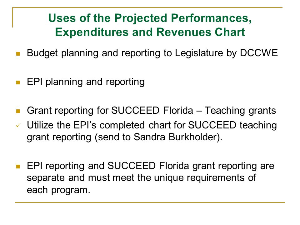 Uses of the Projected Performances, Expenditures and Revenues Chart Budget planning and reporting to Legislature by DCCWE EPI planning and reporting Grant reporting for SUCCEED Florida – Teaching grants Utilize the EPIs completed chart for SUCCEED teaching grant reporting (send to Sandra Burkholder).
