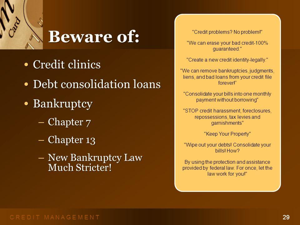 C R E D I T M A N A G E M E N T28 Recovering from Debt Take Charge.