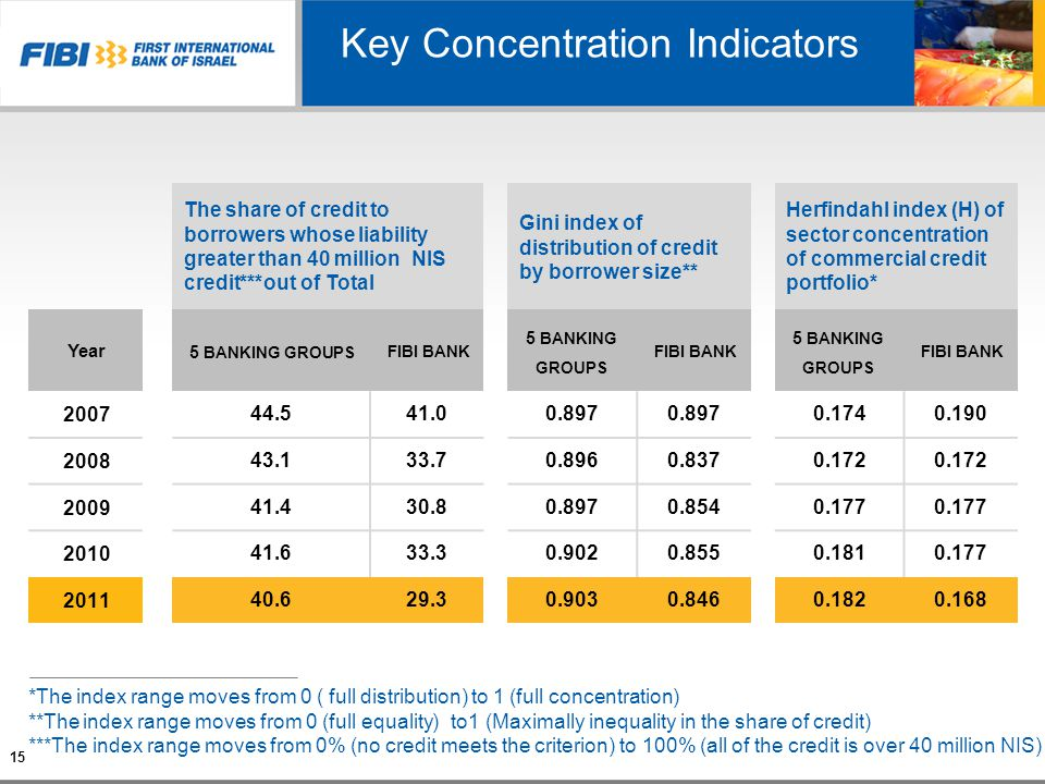 Key Concentration Indicators 15 Herfindahl index (H) of sector concentration of commercial credit portfolio* Gini index of distribution of credit by b
