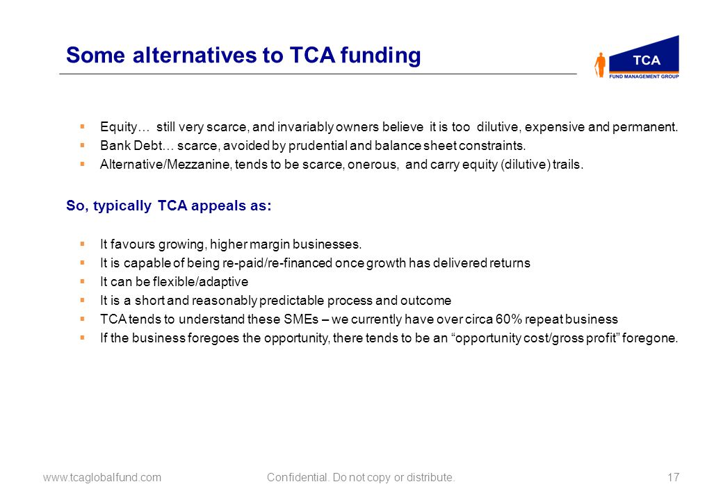 Some alternatives to TCA funding www.tcaglobalfund.comConfidential.