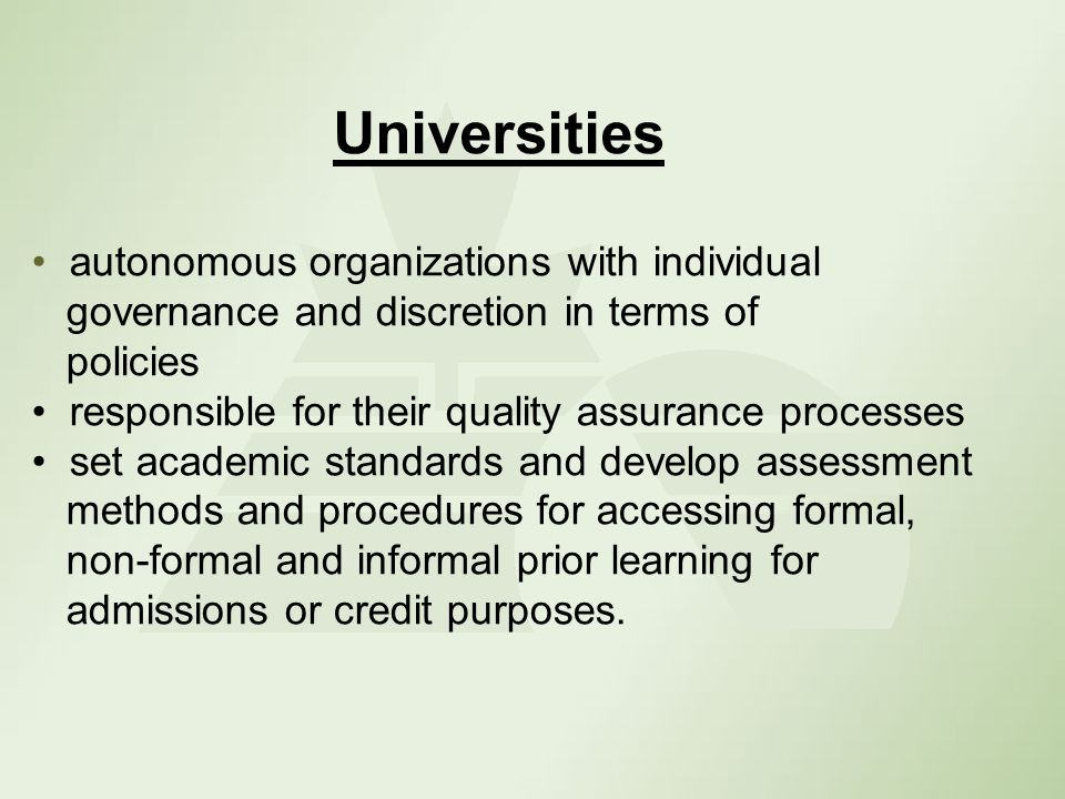 Policies and Procedures 50 universities with policies and procedures Institutional policies Departmental policies