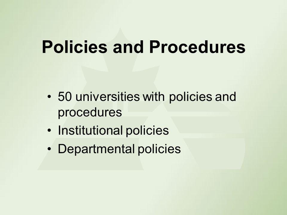 Policies and Procedures 50 universities with policies and procedures Institutional policies Departmental policies