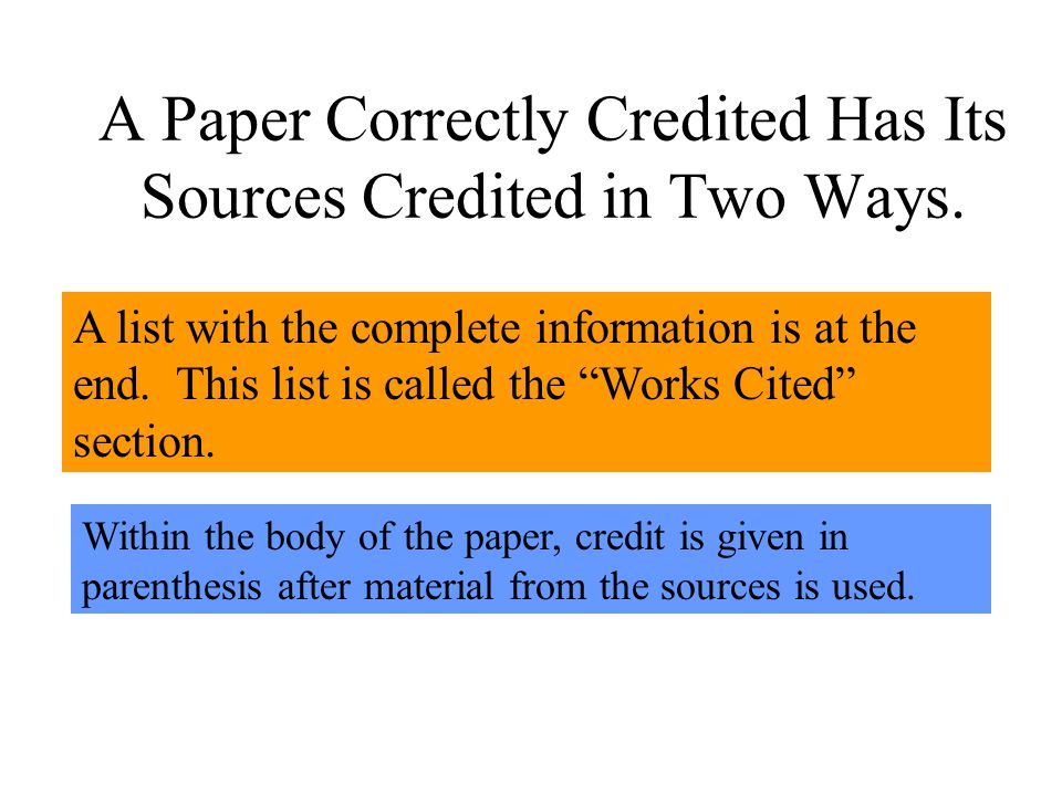 A Paper Correctly Credited Has Its Sources Credited in Two Ways. Within the body of the paper, credit is given in parenthesis after material from the