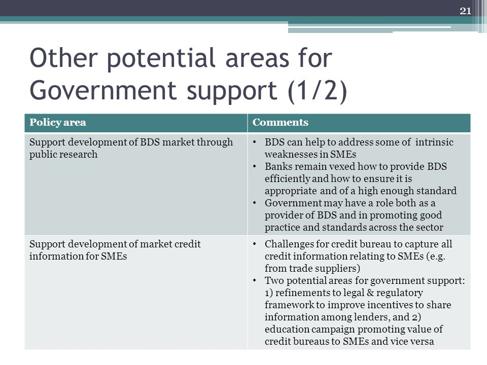 Other potential areas for Government support (1/2) 21 Policy areaComments Support development of BDS market through public research BDS can help to address some of intrinsic weaknesses in SMEs Banks remain vexed how to provide BDS efficiently and how to ensure it is appropriate and of a high enough standard Government may have a role both as a provider of BDS and in promoting good practice and standards across the sector Support development of market credit information for SMEs Challenges for credit bureau to capture all credit information relating to SMEs (e.g.