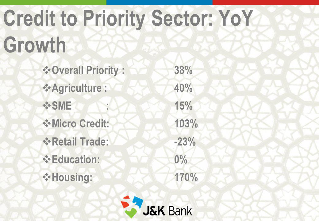 Credit to Priority Sector: YoY Growth Overall Priority : 38% Agriculture :40% SME :15% Micro Credit:103% Retail Trade: -23% Education: 0% Housing: 170