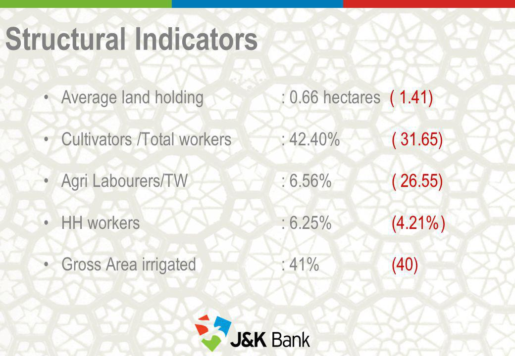 Structural Indicators Average land holding : 0.66 hectares ( 1.41) Cultivators /Total workers : 42.40% ( 31.65) Agri Labourers/TW : 6.56% ( 26.55) HH