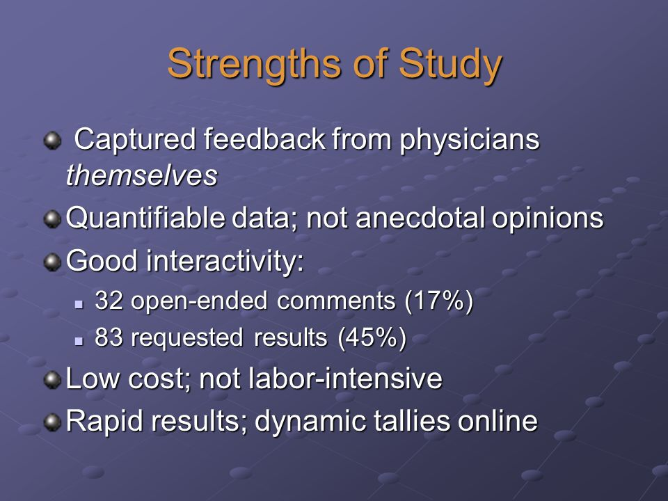 Strengths of Study Captured feedback from physicians themselves Captured feedback from physicians themselves Quantifiable data; not anecdotal opinions Good interactivity: 32 open-ended comments (17%) 32 open-ended comments (17%) 83 requested results (45%) 83 requested results (45%) Low cost; not labor-intensive Rapid results; dynamic tallies online