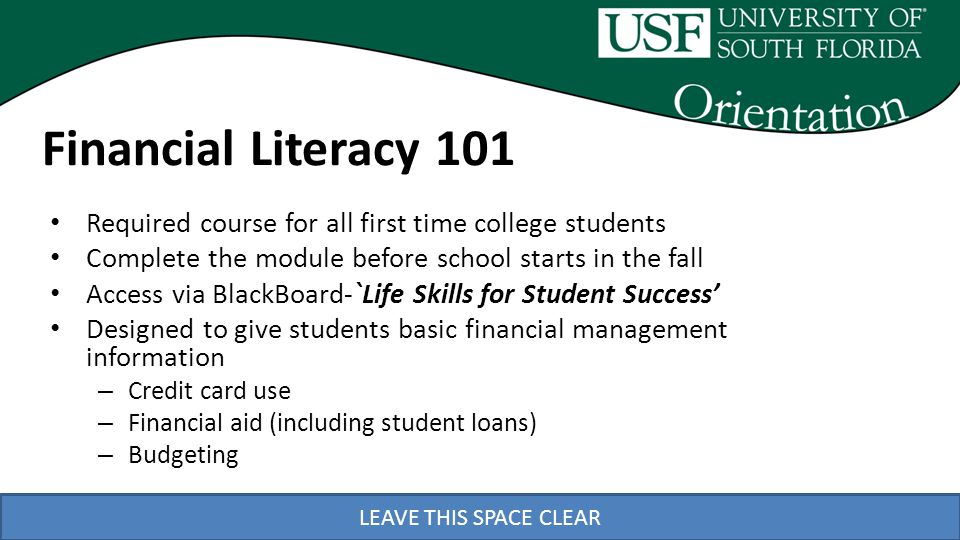 LEAVE THIS SPACE CLEAR Financial Literacy 101 Required course for all first time college students Complete the module before school starts in the fall Access via BlackBoard-`Life Skills for Student Success Designed to give students basic financial management information – Credit card use – Financial aid (including student loans) – Budgeting