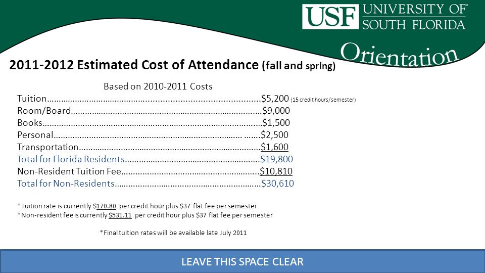 LEAVE THIS SPACE CLEAR 2011-2012 Estimated Cost of Attendance (fall and spring) Based on 2010-2011 Costs Tuition……………………………………..............................................$5,200 (15 credit hours/semester) Room/Board…………………………………………………………………….…$9,000 Books……………………………………………………………………………….…$1,500 Personal……………………………………………………………………… …….$2,500 Transportation……………………………………………………………………$1,600 Total for Florida Residents………………………………………………….$19,800 Non-Resident Tuition Fee…………………………………………………..$10,810 Total for Non-Residents………………………………………………………$30,610 *Tuition rate is currently $170.80 per credit hour plus $37 flat fee per semester *Non-resident fee is currently $531.11 per credit hour plus $37 flat fee per semester *Final tuition rates will be available late July 2011