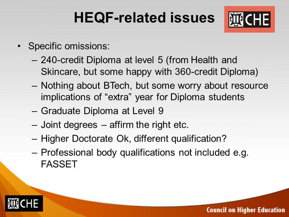 HEQF-related issues Specific omissions: –240-credit Diploma at level 5 (from Health and Skincare, but some happy with 360-credit Diploma) –Nothing about BTech, but some worry about resource implications of extra year for Diploma students –Graduate Diploma at Level 9 –Joint degrees – affirm the right etc.