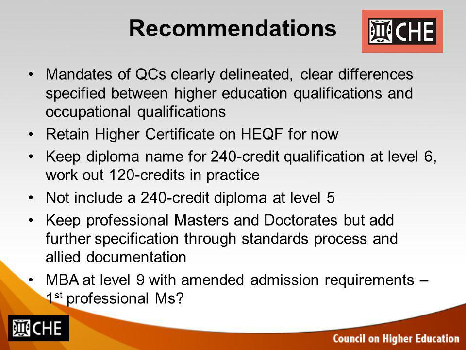 Recommendations Mandates of QCs clearly delineated, clear differences specified between higher education qualifications and occupational qualifications Retain Higher Certificate on HEQF for now Keep diploma name for 240-credit qualification at level 6, work out 120-credits in practice Not include a 240-credit diploma at level 5 Keep professional Masters and Doctorates but add further specification through standards process and allied documentation MBA at level 9 with amended admission requirements – 1 st professional Ms