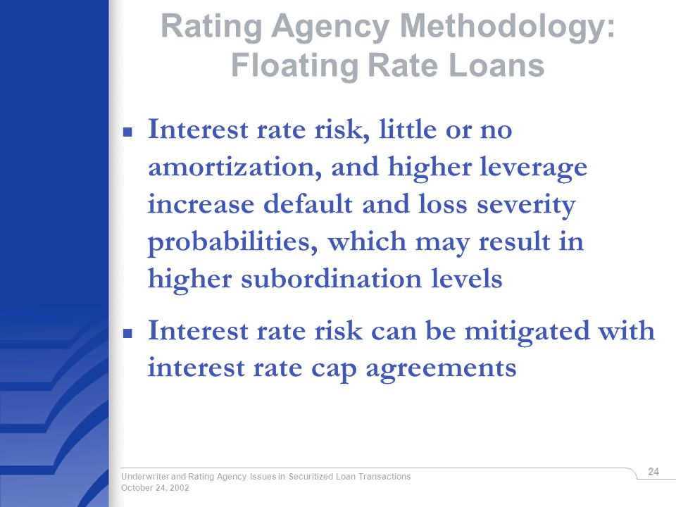 October 24, 2002 Underwriter and Rating Agency Issues in Securitized Loan Transactions 24 Rating Agency Methodology: Floating Rate Loans n Interest rate risk, little or no amortization, and higher leverage increase default and loss severity probabilities, which may result in higher subordination levels n Interest rate risk can be mitigated with interest rate cap agreements