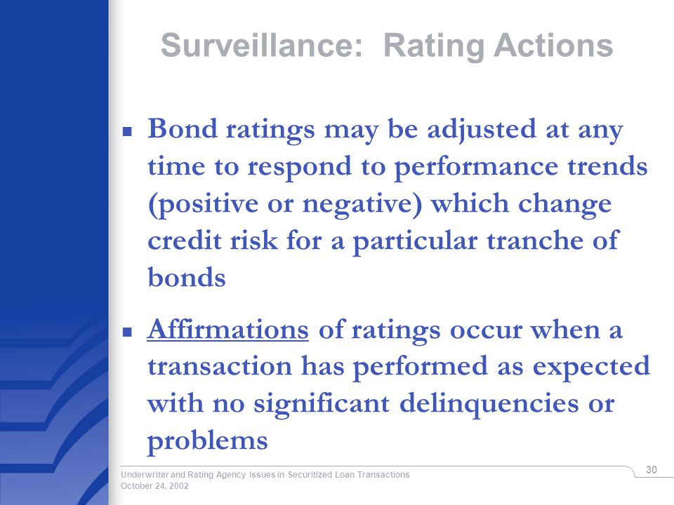 October 24, 2002 Underwriter and Rating Agency Issues in Securitized Loan Transactions 30 Surveillance: Rating Actions n Bond ratings may be adjusted at any time to respond to performance trends (positive or negative) which change credit risk for a particular tranche of bonds n Affirmations of ratings occur when a transaction has performed as expected with no significant delinquencies or problems