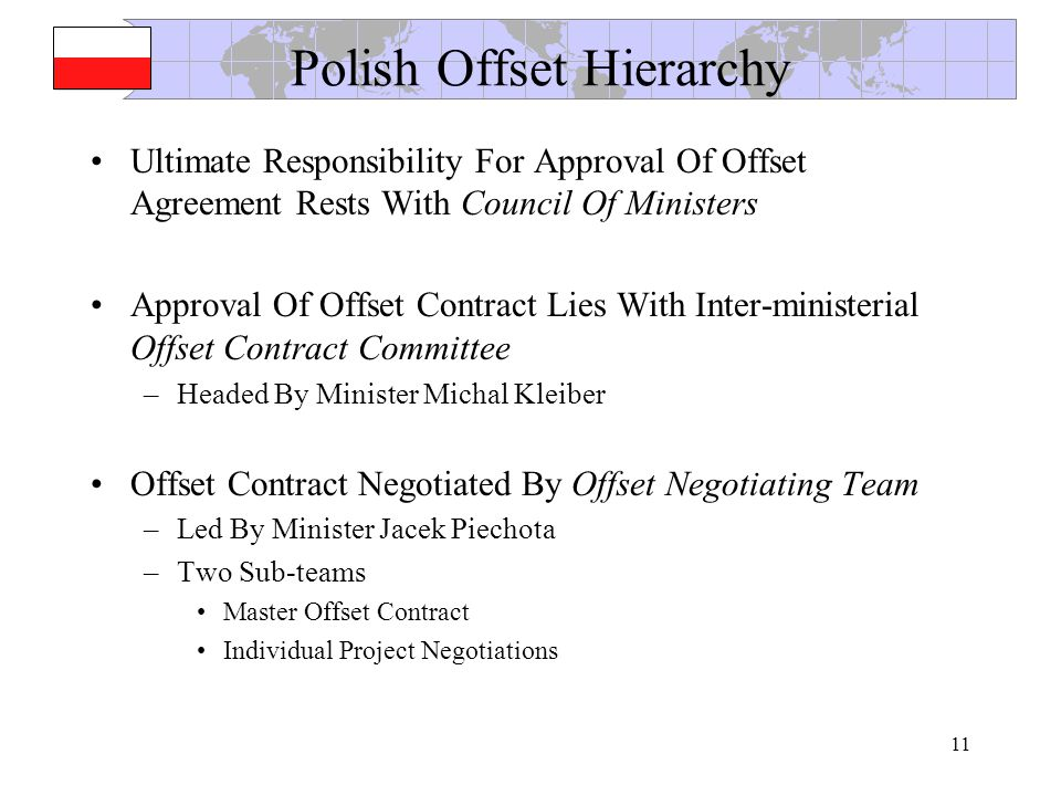 11 Polish Offset Hierarchy Ultimate Responsibility For Approval Of Offset Agreement Rests With Council Of Ministers Approval Of Offset Contract Lies With Inter-ministerial Offset Contract Committee –Headed By Minister Michal Kleiber Offset Contract Negotiated By Offset Negotiating Team –Led By Minister Jacek Piechota –Two Sub-teams Master Offset Contract Individual Project Negotiations